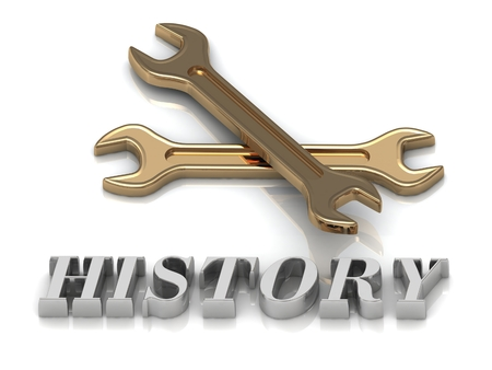 metal letters: HISTORY- inscription of metal letters and 2 keys on white background Stock Photo