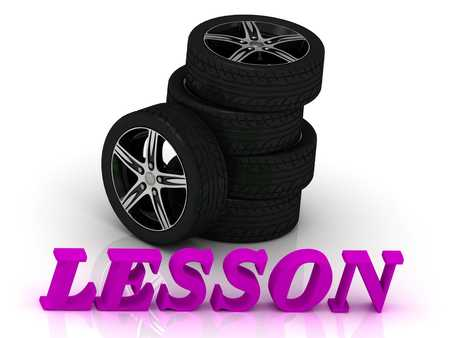 ltc: LESSON- bright letters and rims mashine black wheels on a white background Stock Photo
