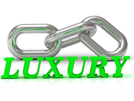 rich couple: LUXURY- inscription of color letters and Silver chain of the section on white background