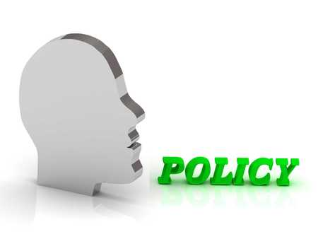 company secrets: POLICY2 - bright color letters and silver head mind on a white background