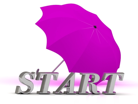 run off: START- inscription of silver letters and umbrella on white background