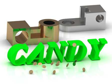 the details: CANDY - words of color letters and silver details and bronze details on white background