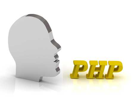 php: PHP - bright color letters and silver head mind on a white background