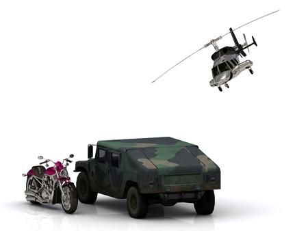 motobike: Howitzer ARMY jeep motobike and helicopter Isolated on white background Stock Photo