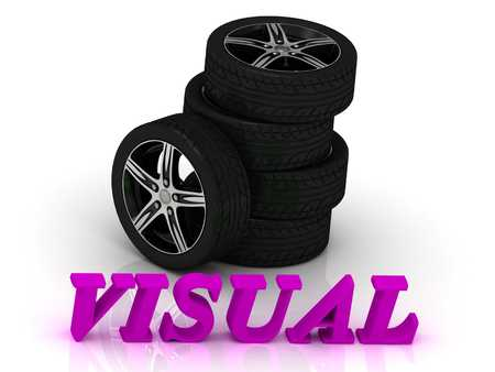 rims: VISUAL- bright letters and rims mashine black wheels on a white background