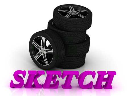 rims: SKETCH- bright letters and rims mashine black wheels on a white background Stock Photo