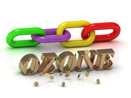 ozone: OZONE- inscription of bright letters and color chain on white background