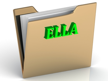 ella: ELLA- bright green letters on gold paperwork folder on a white background Stock Photo