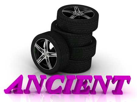 rims: ANCIENT- bright letters and rims mashine black wheels on a white background