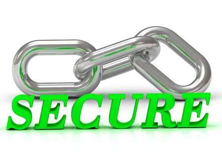 secret identities: SECURE- inscription of color letters and Silver chain of the section on white background