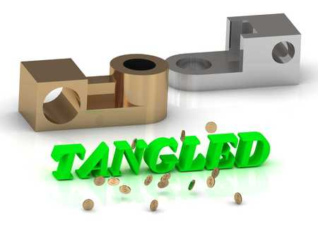 tangled: TANGLED - words of color letters and silver details and bronze details on white background