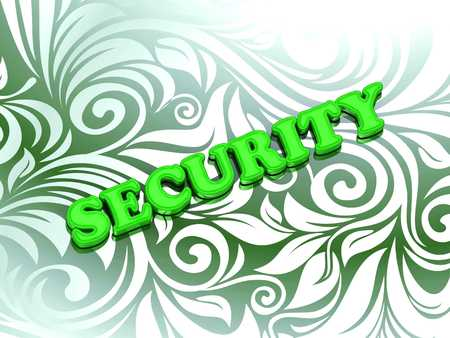 secret code: SECURITY - bright color letters on nice green ornament background Stock Photo