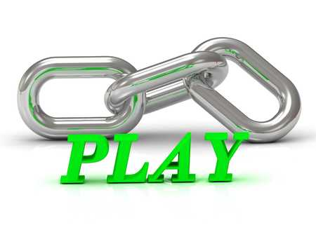 PLAY- inscription of color letters and Silver chain of the section on white background