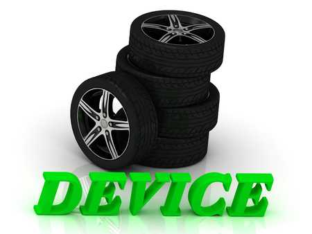 rims: DEVICE- bright letters and rims mashine black wheels on a white background