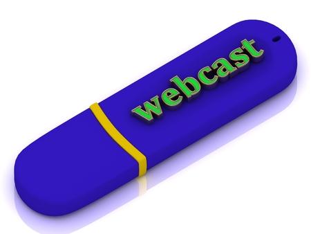 webcast: webcast - inscription bright green volume letter on blue USB flash drive on white background Stock Photo