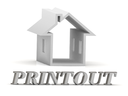 printout: PRINTOUT- inscription of silver letters and white house on white background