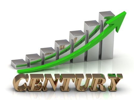 century: CENTURY- inscription of gold letters and Graphic growth and gold arrows on white background