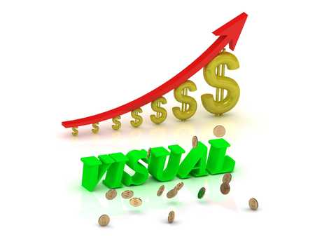 visualize: VISUAL- bright color letters and graphic growing dollars and red arrow on a white background