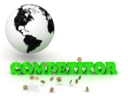 competitor: COMPETITOR- bright color letters, black and white Earth on a white background Stock Photo