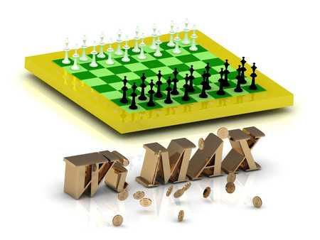internet terminals: Wi MAX- bright gold letters money and yellow chess on white background