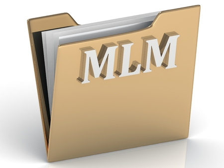 mlm: MLM - bright green letters on a gold folder on a white background