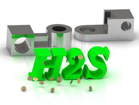 greenhouse gas: H2S - words of color letters and silver details on white background