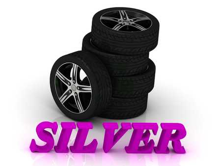 durability: SILVER- bright letters and rims mashine black wheels on a white background
