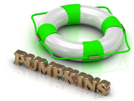 hollidays: PUMPKINS - bright gold letters and color life buoy on a white background Stock Photo