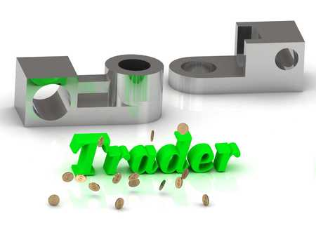 trader: Trader- inscription of color letters and silver details on white background