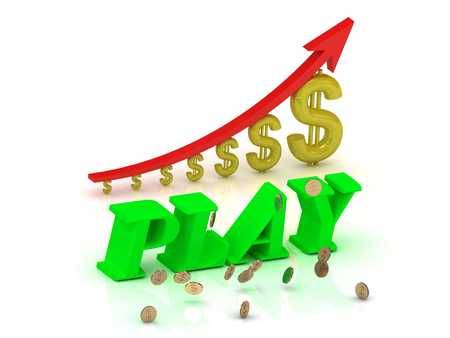 PLAY- bright color letters and graphic growing dollars and red arrow on a white background Stock Photo