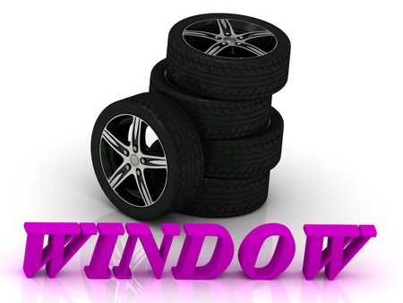 rims: WINDOW- bright letters and rims mashine black wheels on a white background