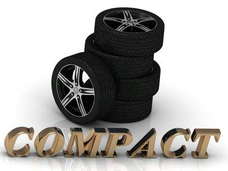 storage data product: COMPACT- bright letters and rims mashine black wheels on a white background