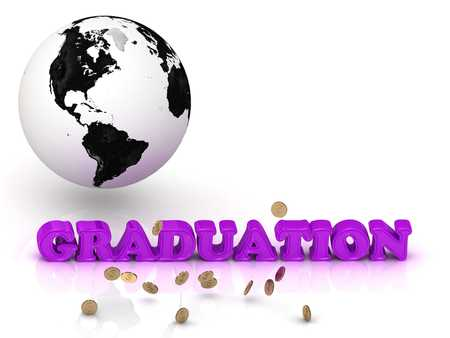 commencement: GRADUATION- bright color letters, black and white Earth on a white background