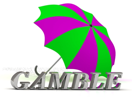 gamble: GAMBLE- inscription of silver letters and umbrella on white background Stock Photo