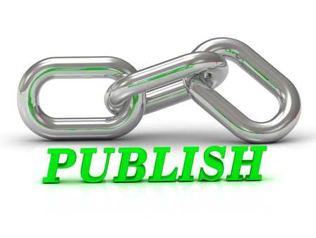 publisher: PUBLISH- inscription of color letters and Silver chain of the section on white background
