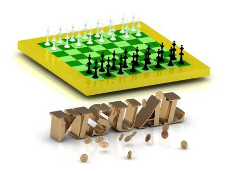 visualize: VISUAL- bright gold letters money and yellow chess on white background