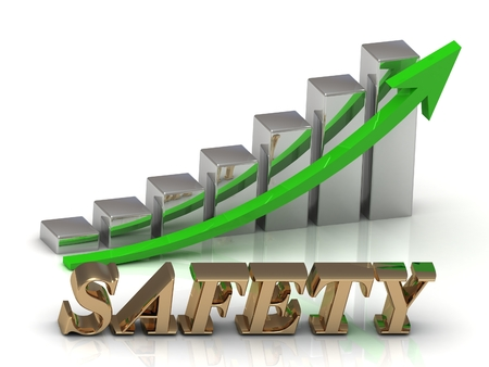ltc: SAFETY- inscription of gold letters and Graphic growth and gold arrows on white background Stock Photo