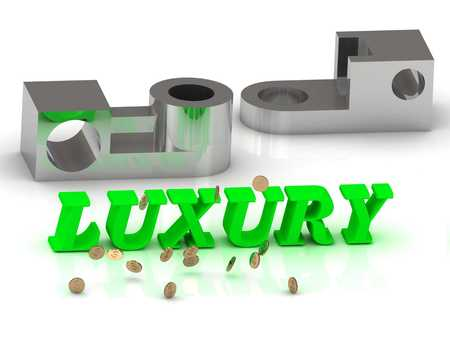 rich couple: LUXURY- words of color letters and silver details on white background
