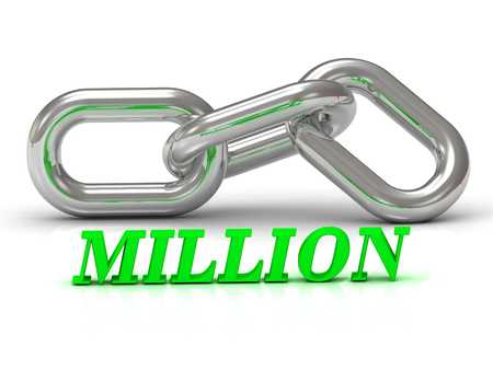 million: MILLION- inscription of color letters and Silver chain of the section on white background Stock Photo