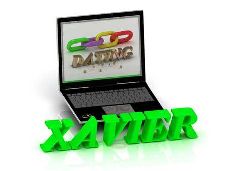 inscription notebook: XAVIER- Name and Family bright letters near Notebook and  inscription Dating on a white background