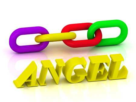 angel white: ANGEL- Name and Family of bright yellow letters and chain of green, yellow, red section on white background Stock Photo