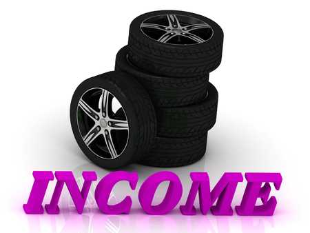 ltc: INCOME- bright letters and rims mashine black wheels on a white background