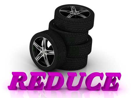 rims: REDUCE- bright letters and rims mashine black wheels on a white background