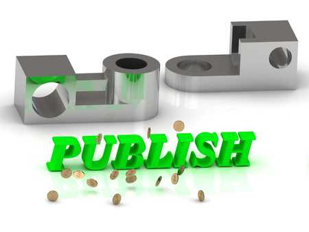 publish: PUBLISH- inscription of color letters and silver details on white background