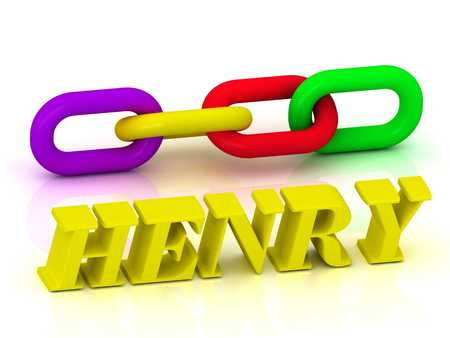 henry: HENRY- Name and Family of bright yellow letters and chain of green, yellow, red section on white background Stock Photo