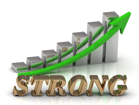 strong growth: STRONG- inscription of gold letters and Graphic growth and gold arrows on white background Stock Photo