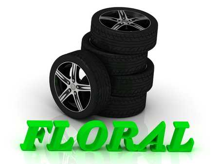 rims: FLORAL- bright letters and rims mashine black wheels on a white background