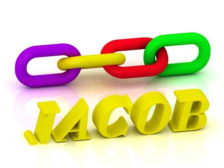 jacob: JACOB- Name and Family of bright yellow letters and chain of green, yellow, red section on white background