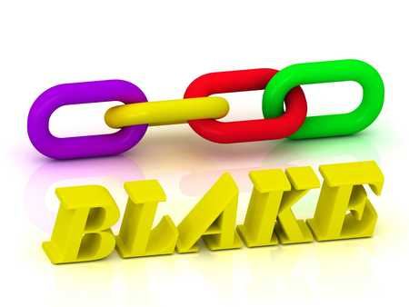 blake and white: BLAKE- Name and Family of bright yellow letters and chain of green, yellow, red section on white background Stock Photo