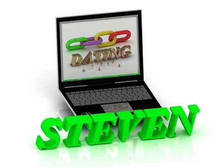 steven: STEVEN- Name and Family bright letters near Notebook and  inscription Dating on a white background Stock Photo